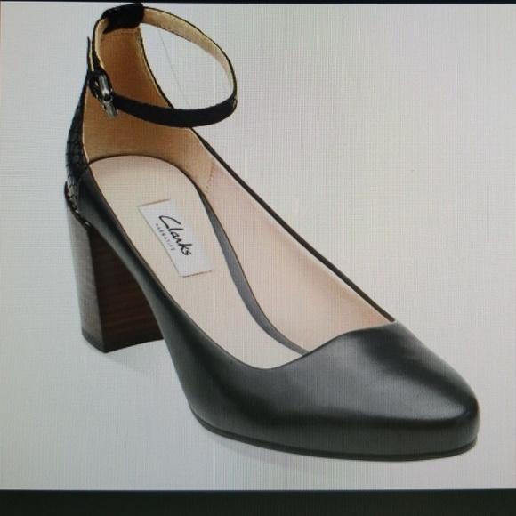 3a42c8d4c68c Clarks Shoes - Clarks Narrative Cleaves Zest Black Leather Heels